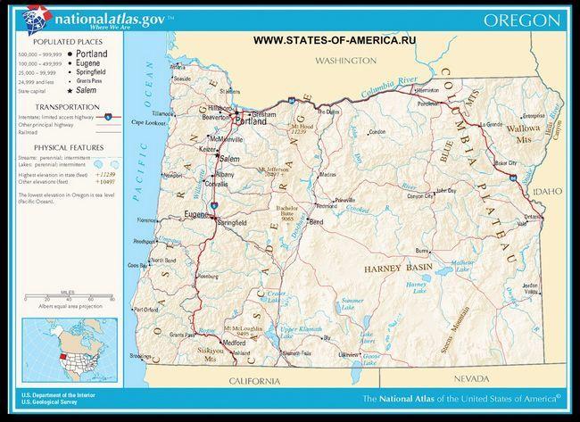 Карта доріг Орегона