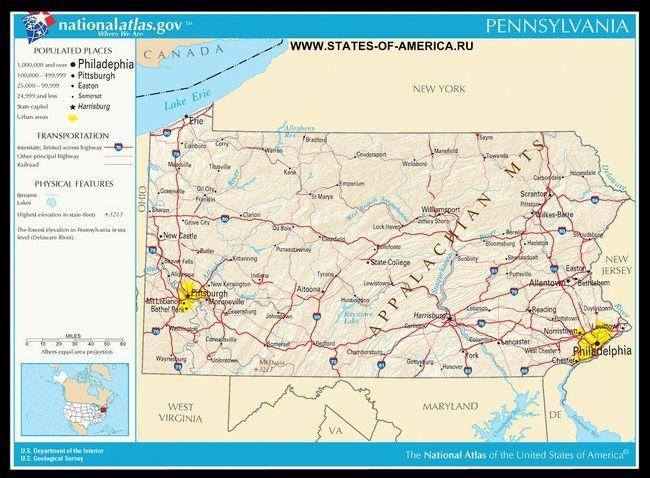 Карта доріг Пенсільванії