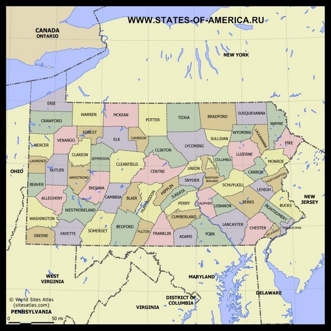 Карта Пенсільванії по округах