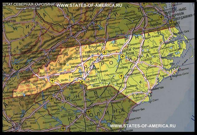 карта Північної Кароліни