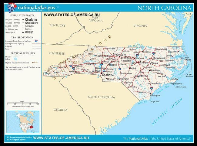 Карта доріг Північної Кароліни