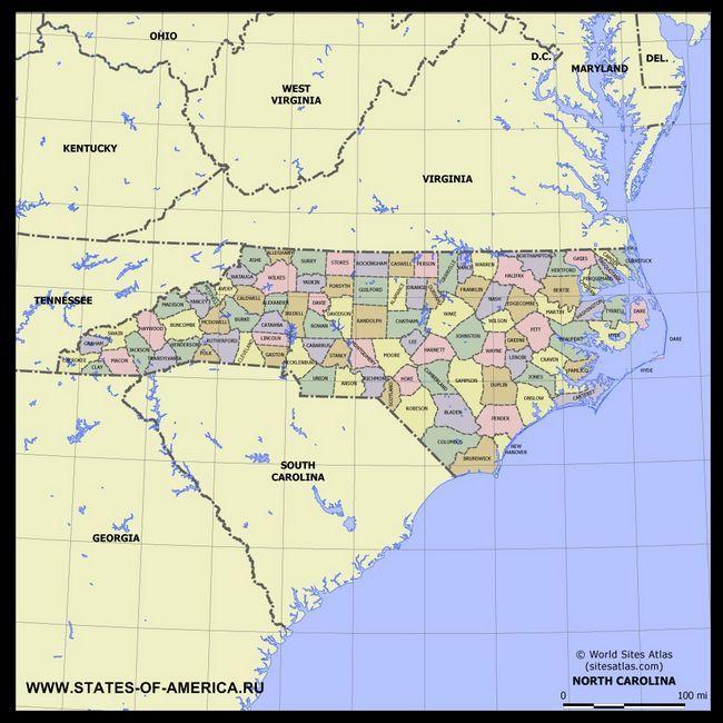Карта Північної Кароліни по округах