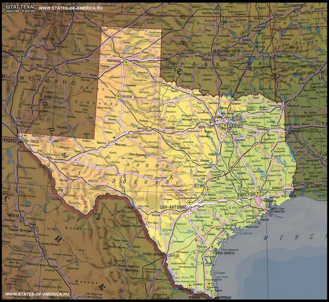 карта Техасу