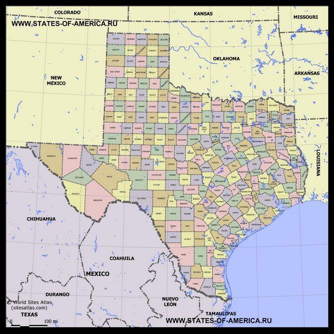 Карта Техасу по округах