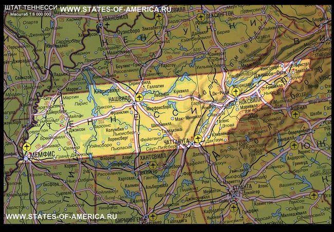 Карта штату теннессі