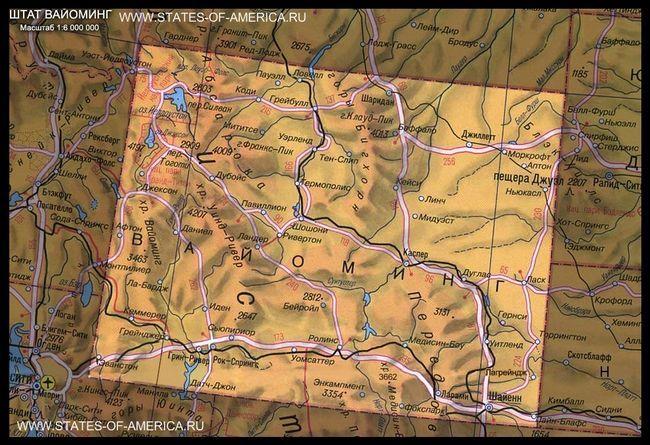 Карта штату вайомінг
