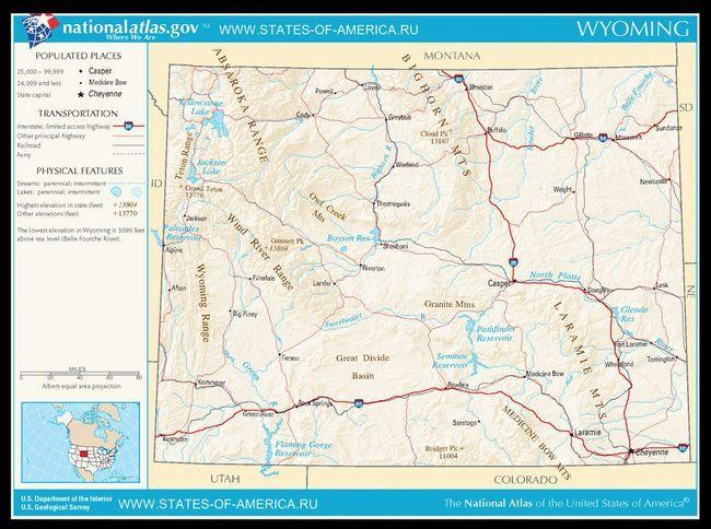 Карта доріг Вайомінгу