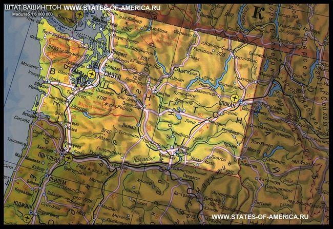 карта штату Вашингтон