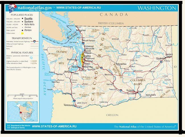 Карта доріг штату Вашингтон