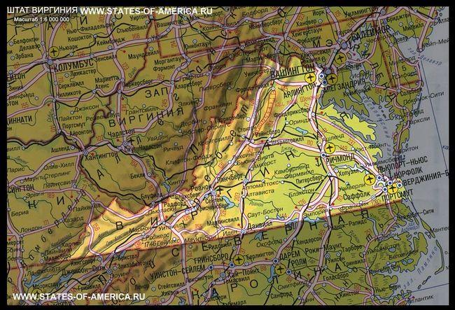 Карта штату вірджинія