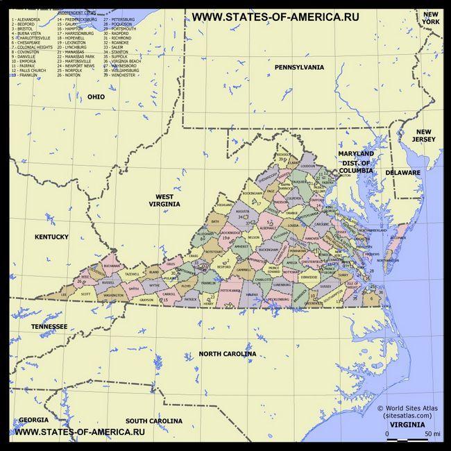 Карта Вірджинії по округах