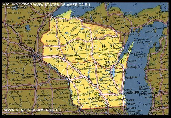Карта штату вісконсін