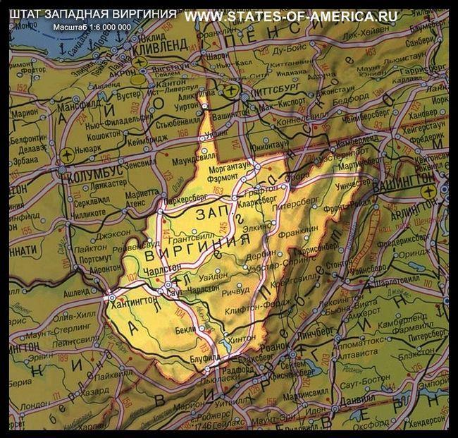 Карта штату західна вірджинія