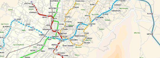 Карта Афінського метро