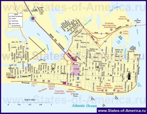 Туристична карта Атлантик-Сіті з готелями і казино