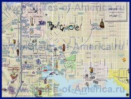 Туристична карта Балтімора з визначними пам`ятками