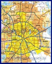 Детальна карта Далласа з околицями