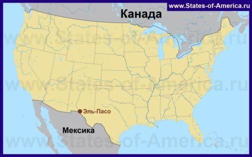 Ель-Пасо на карті США