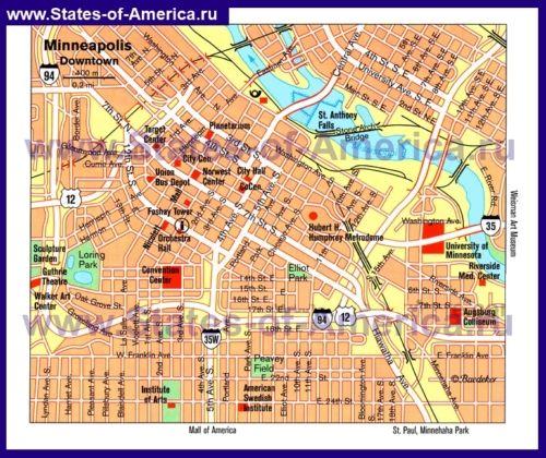 Туристична карта Міннеаполіса з визначними пам`ятками