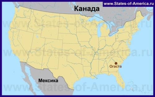 Огаста на карті США