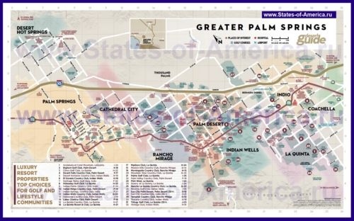 Туристична карта Палм-Спрінгс з визначними пам`ятками