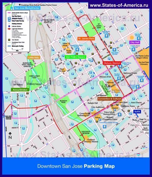Туристична карта Сан-Хосе з парковками, готелями і визначними пам`ятками