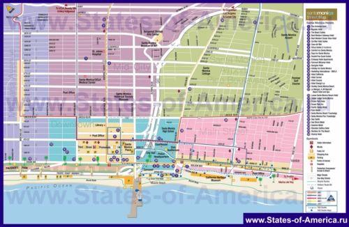 Туристична карта Санта-Моніки з готелями, пам`ятками та магазинами