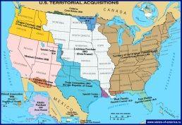 Карта приєднання територій до Сполучених Штатів Америки