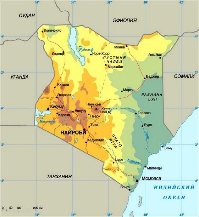 Фізична карта Кенії