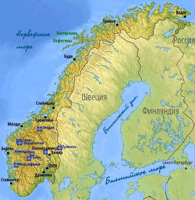 карта гірськолижних курортів Норвегії