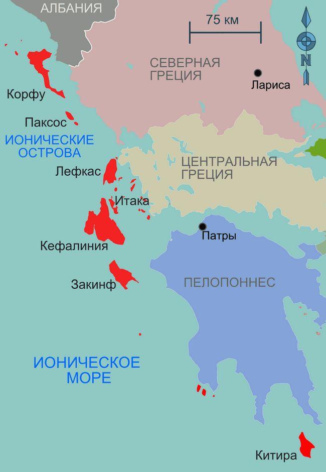 Оповите легендами іонічне море на мапі