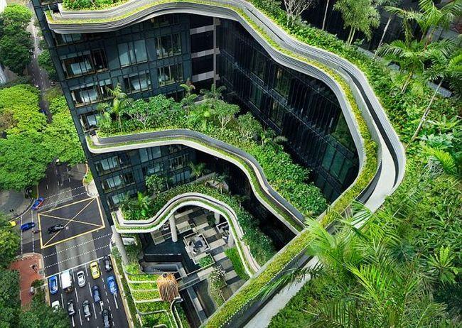 Готель parkroyal on pickering з вертикальним зеленим парком, сингапур