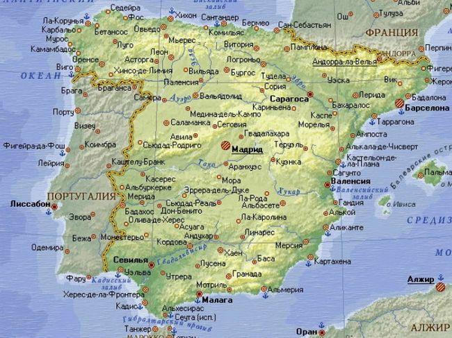Відпустка в одній з найбільш відвідуваних країн у світі: карта іспанії з містами російською мовою