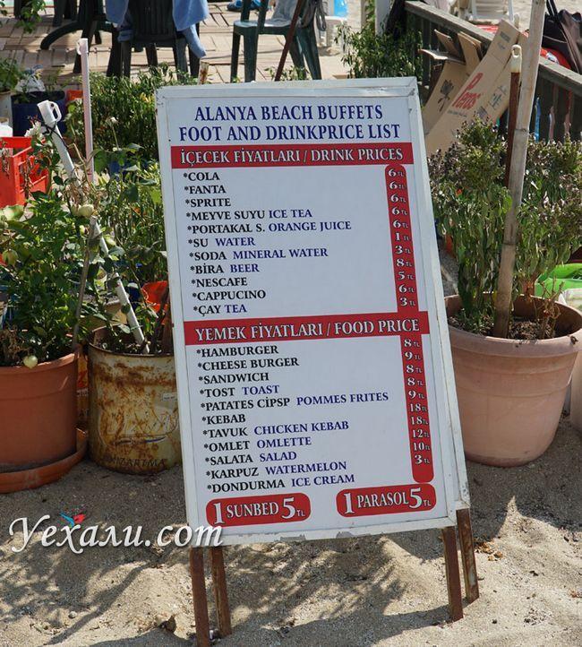 Ціни на пляжі Клеопатри