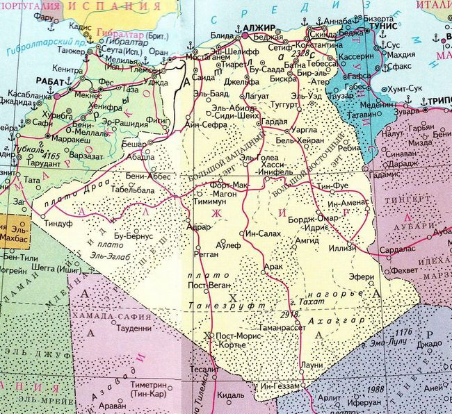 Карта Алжиру російською мовою