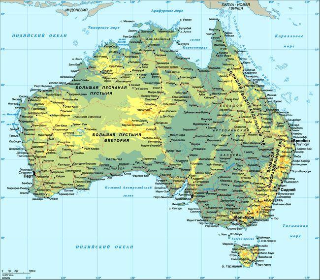 Детальна карта австралії російською мовою