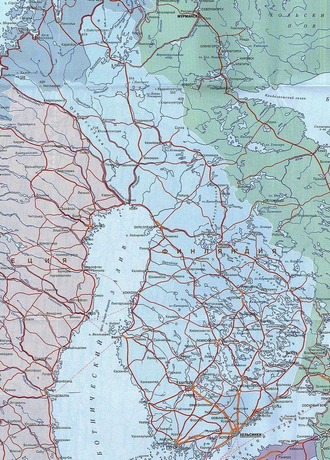 Карта Фінляндії з містами