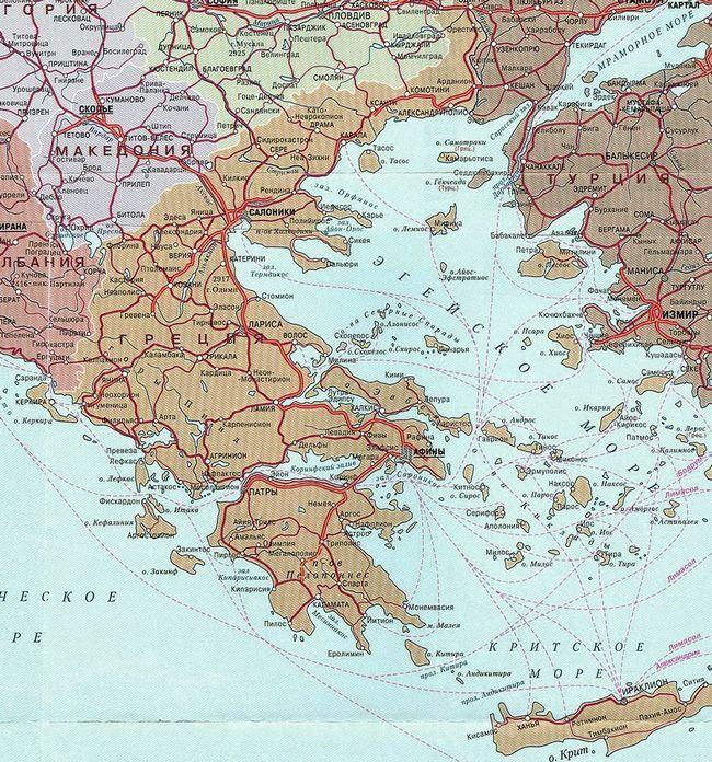 Карта Греції з островами російською мовою