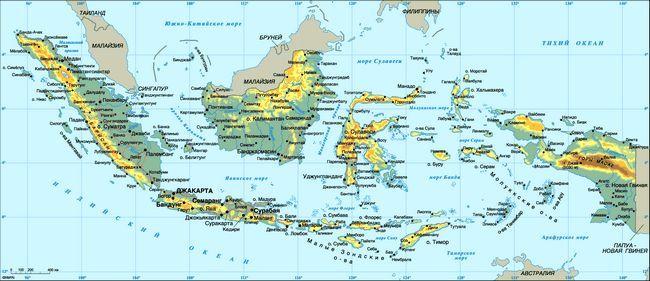 Детальна карта індонезії російською мовою