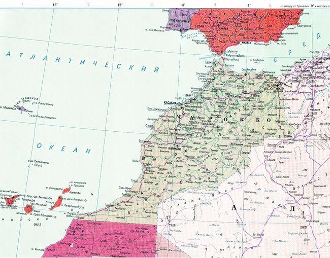 Карта Марокко з курортами російською мовою