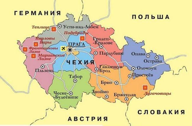Детальна карта казкової чехії з містами російською мовою