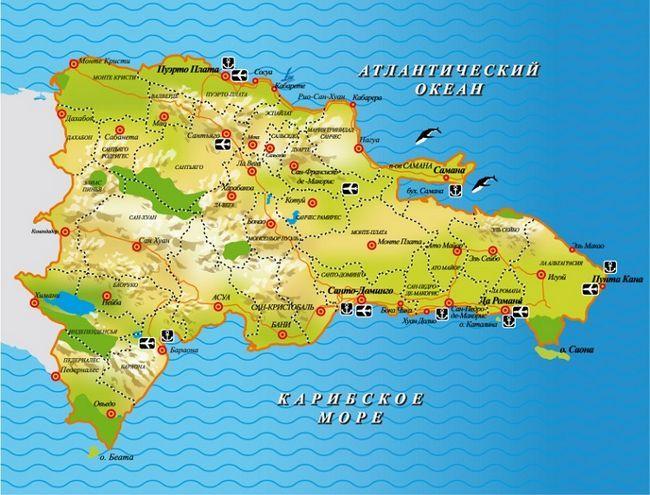 курорти Домінікани на мапі