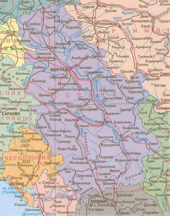 Географічна карта Сербії