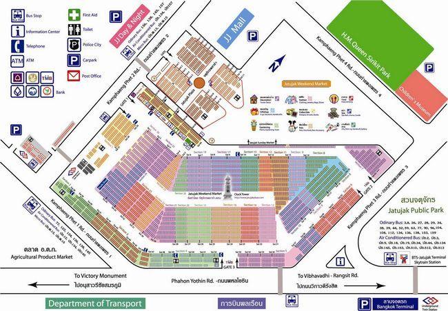 Карта - схема ранка Чатучак в Бангкоку