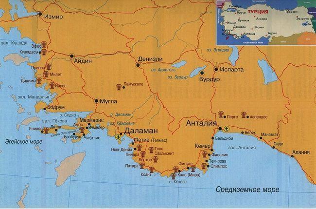 Туреччина: докладна і велика географічна карта з містами російською мовою