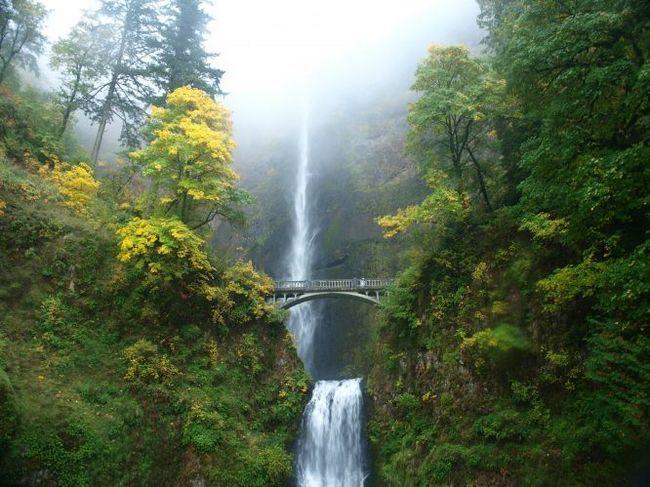 Високий і мальовничий водоспад малтнома-фолс (multnomah falls), сша