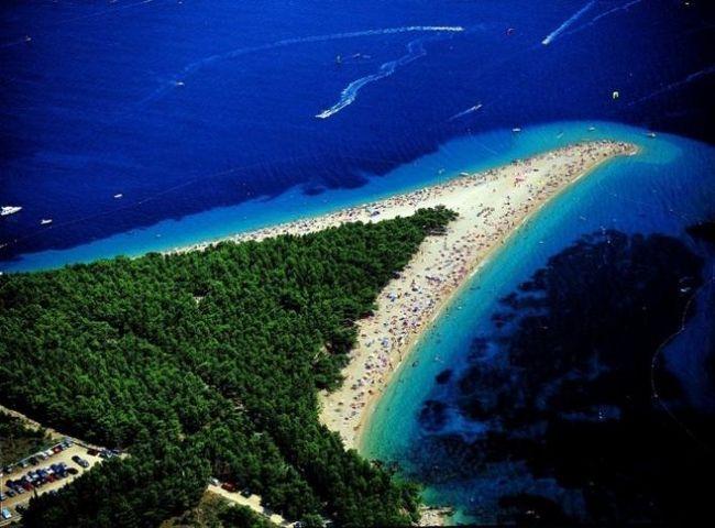 Золотий ріг (zlatni rat) - найкрасивіший пляж в хорватії (бол, острів брач, середня далмація)